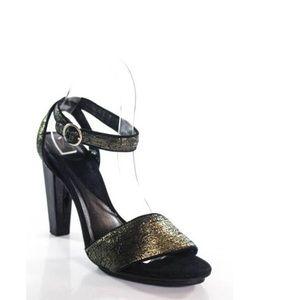 DVF Diane Von Furstenburg Gold Ankle Strap Heels 6